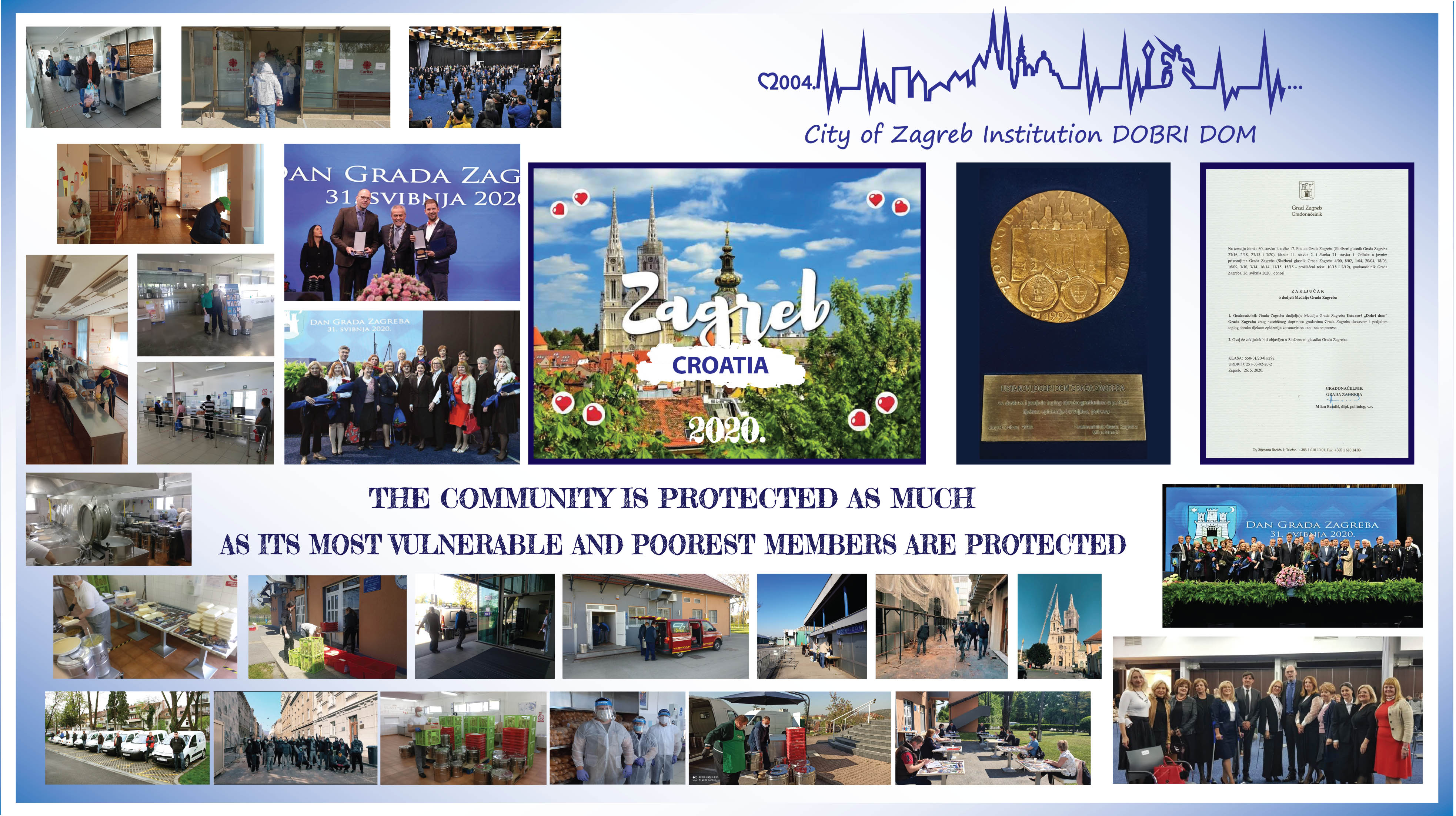 Award ceremony on the occasion of the Day of the City of Zagreb - 31.5.2020. MEDAL OF THE CITY OF ZAGREB Institutions Dobri dom of the City of Zagreb